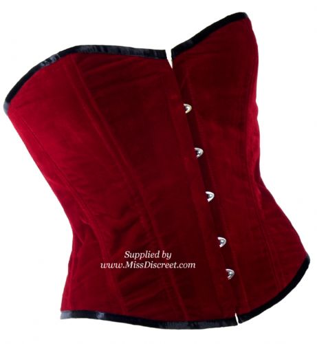 "Ruby Red Velvet Overbust Steel Boned Corset with Black Satin Trim - To Suit 25/26"" Waist"